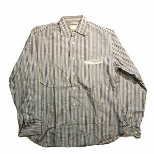 Mens BRIONI Button Front Striped Long Sleeve Dress